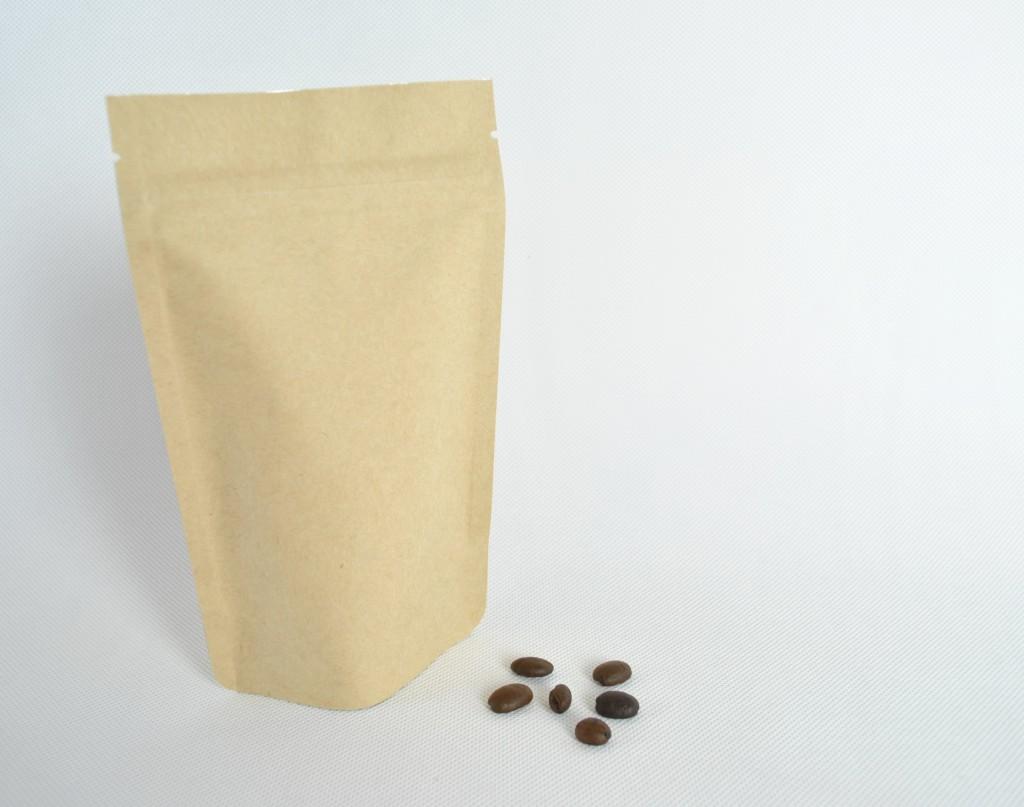 咖啡豆包裝袋材料夾鏈站立袋掛耳袋合掌夾邊袋-牛皮紙