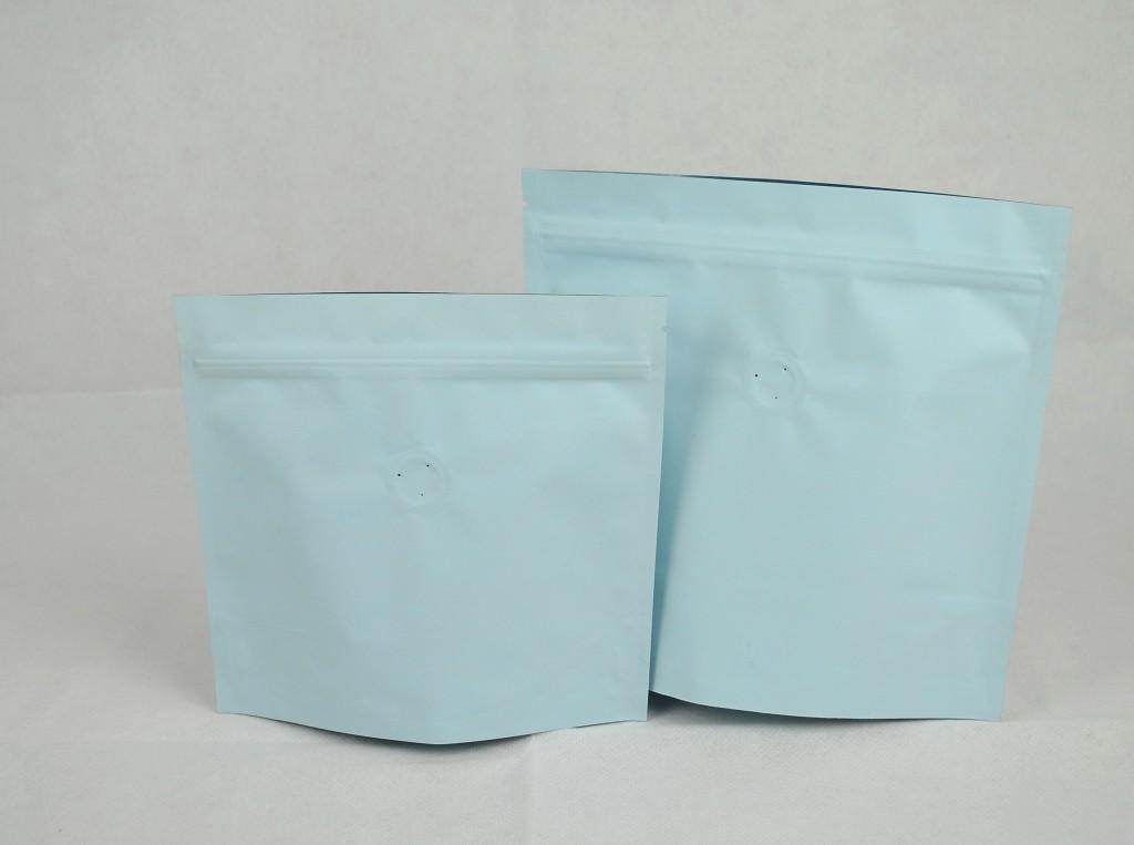 夾鏈站立包裝袋咖啡袋印刷藍色日式袋型四分之一磅120g1