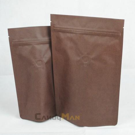深咖啡色公版夾鏈站立袋-半磅227克4ozdeepbrowncoffeezipperbag