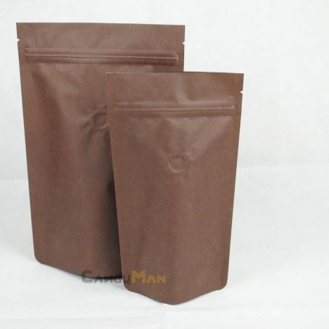 深咖啡色公版夾鏈站立袋-四分之一磅 120克4ozdeepbrowncoffeezipperbag
